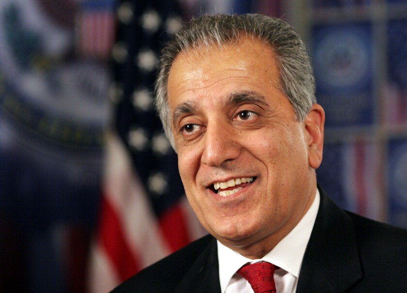 Zalmay Khalilzad, President Trump's representative in talks with the Taliban, speaks during an interview in Baghdad.
