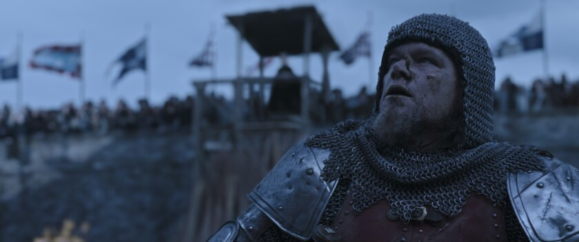 """A medieval knight in the movie """"The Last Duel."""""""