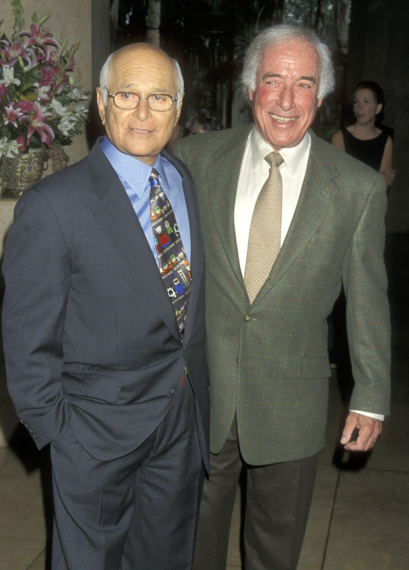 Writer-producer Norman Lear, left, and director Bud Yorkin at the Women in Film Lucy Awards on Sept. 17, 1999 at the Beverly Hilton Hotel.