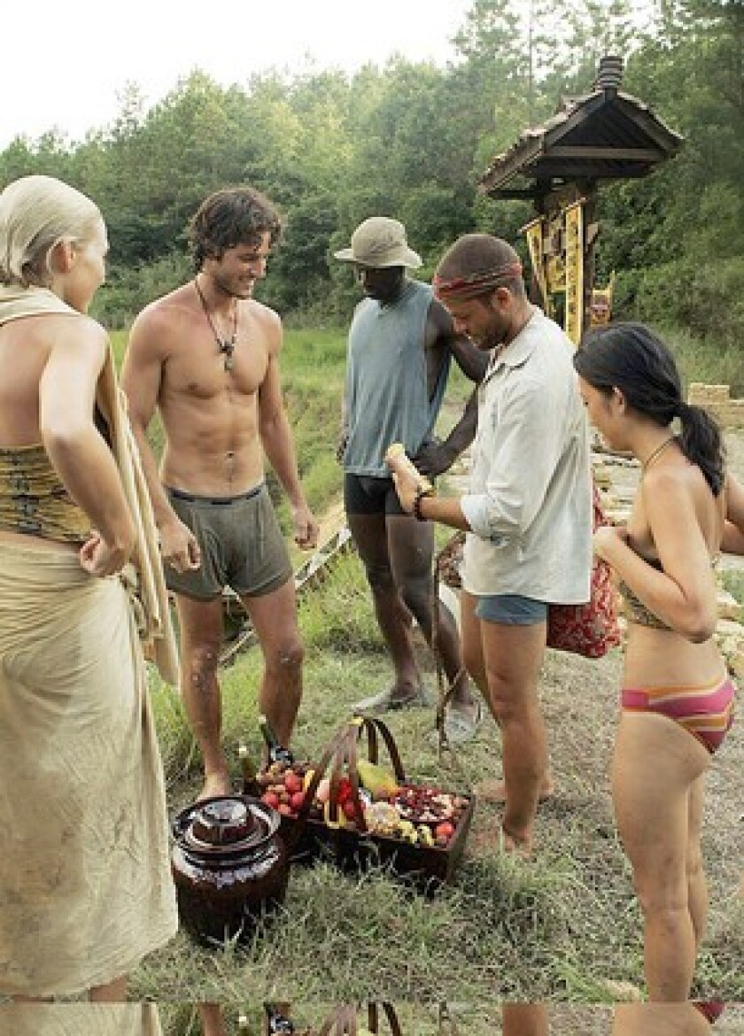 "Jaime Dugan, left, Erik Huffman, James Clement, Aaron Reisberger and Peih-Gee Law on ""Survivor."""