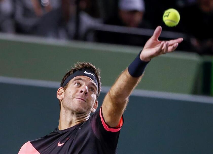 Juan Martin del Potro of Argentina serves against Robin Haase of the Netherlands during a second round match at the Miami Open tennis tournament on Key Biscayne, Miami, Florida, USA, 23 March 2018. EFE