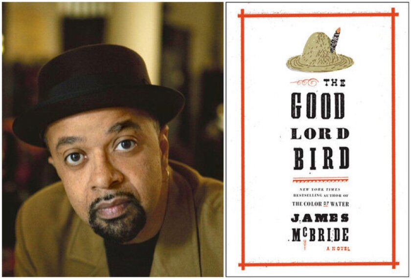 """Author James McBride and the cover of his book, """"The Good Lord Bird."""""""