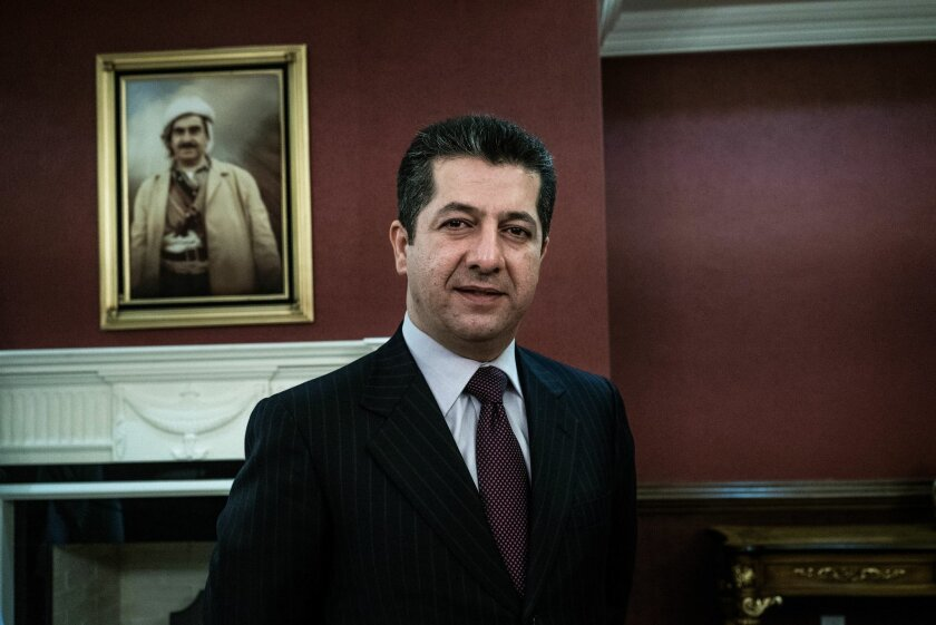 Masrour Barzani, head of the Kurdistan Regional Government's security council, and the son of Kurdish President Masoud Barzani, poses for a portrait after an interview with The Associated Press in Salahuddin, Iraq, Tuesday, Feb. 9, 2016. He asked for international help to finance the region's war a
