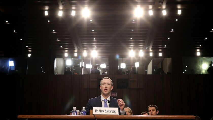 Facebook chief Mark Zuckerberg testifies Tuesday on Capitol Hill.