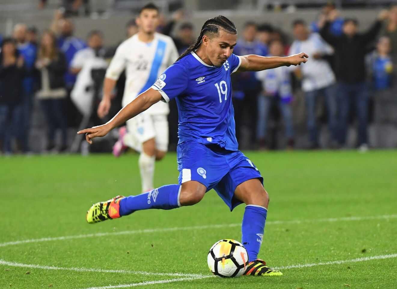 Gerson Mayen of El Salvador hits the ball during their international friendly match against Guatemala at the Banc of California Stadium in Los Angeles, California on March 6, 2019. (Photo by Mark RALSTON / AFP)MARK RALSTON/AFP/Getty Images ** OUTS - ELSENT, FPG, CM - OUTS * NM, PH, VA if sourced by CT, LA or MoD **