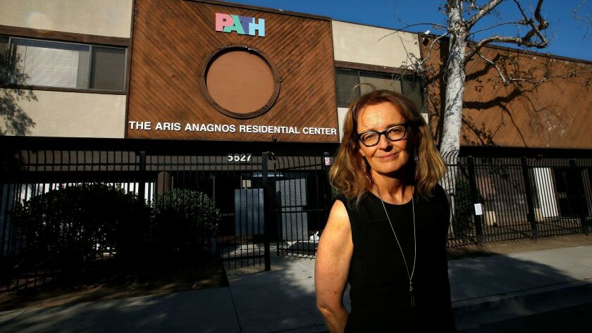 Kerry Morrison, executive director of the Hollywood Property Owners Alliance, is trying to find a new location to open a homeless shelter in the community. The area's only homeless shelter, above, closed last year.