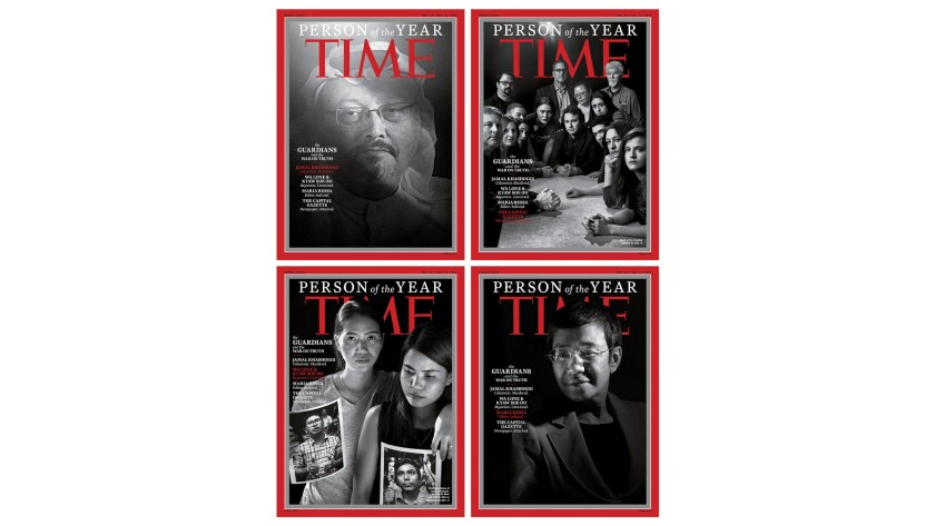 """This combination photo provided by Time Magazine shows their four covers for the """"Person of the Year"""