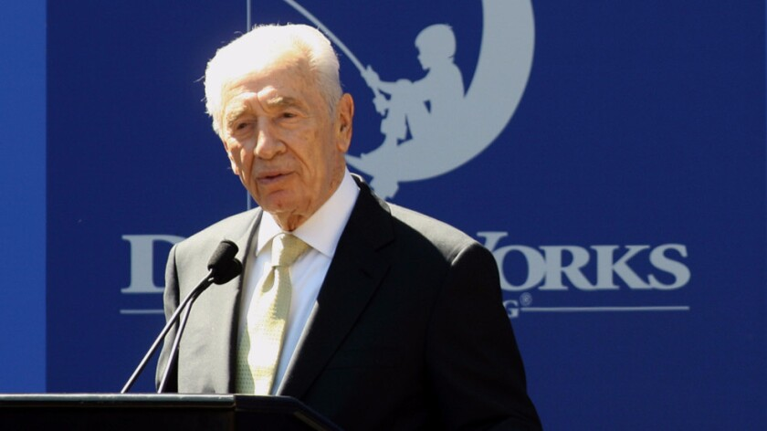 Israeli president Shimon Peres speaks at Dreamworks Animation SKG in Glendale on March 9, 2012.