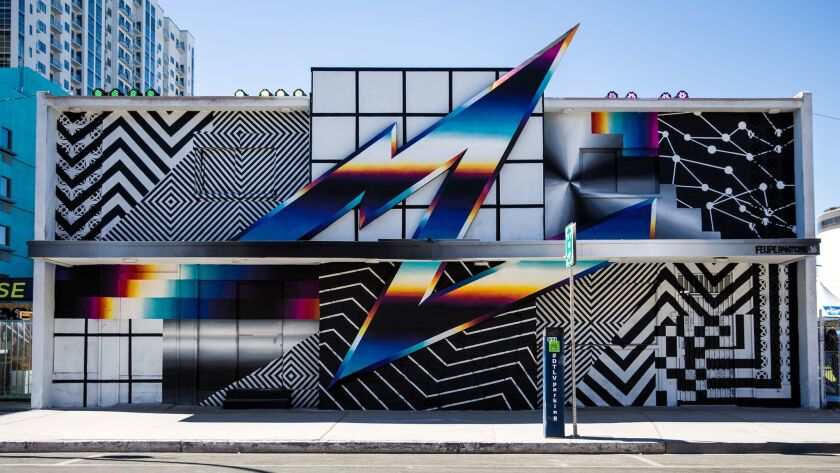 Head to 7th Street between Stewart and Ogden avenues to view Felipe Pantone's mural, created for the 2016 Life Is Beautiful festival. The Argentine native, now based in Spain, incorporates bold graphics into his work.