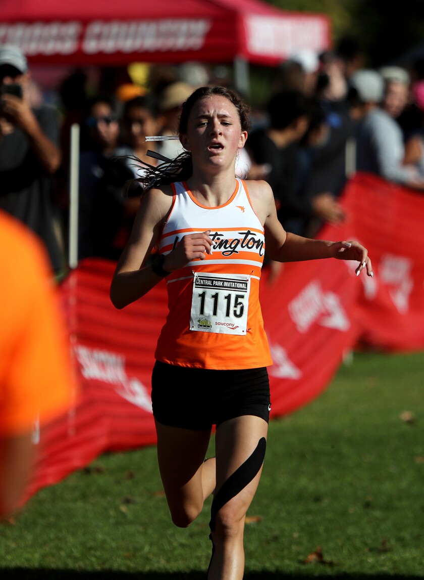 Huntington Beach's Makenzie McRae finishes first in the Central Park Invitational girls' Section 1 race.
