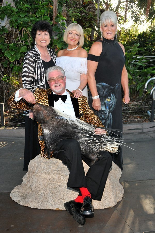 Carol , Chris and Vicki Eddy (event chairs), Joan Embery, and an African porcupine