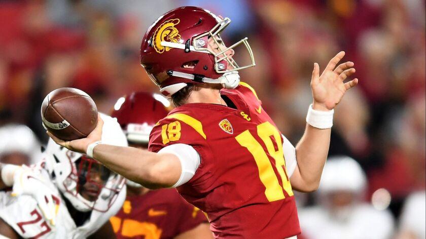 LOS ANGELES, SEPTEMBER 21, 2018-USC quarterback J.T. Daniels throws a pass against Washington St. at