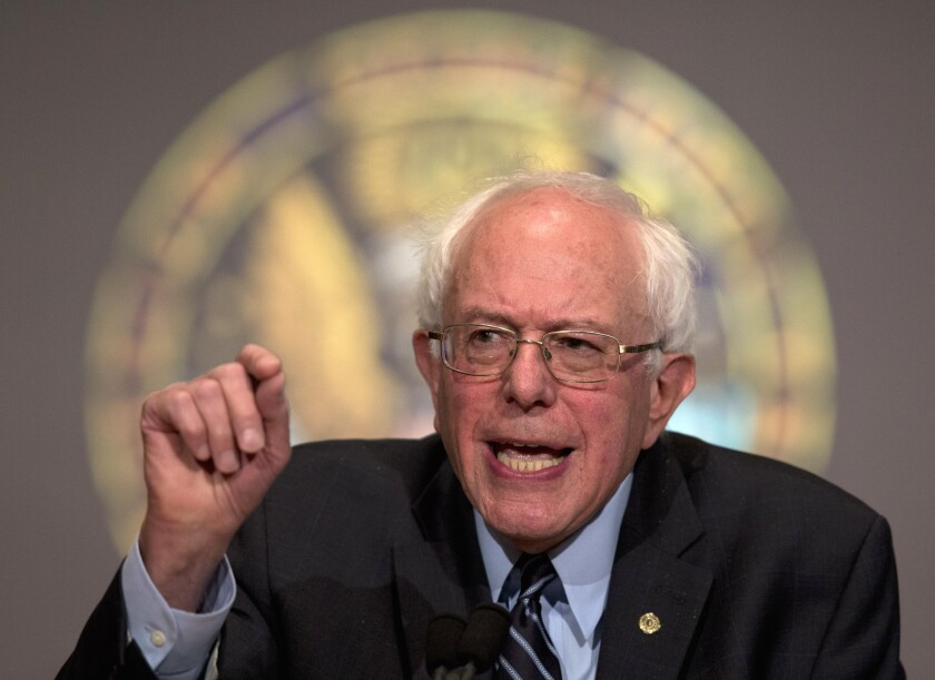 """I don't believe in some foreign 'ism,' but I believe deeply in American idealism,"" Democratic presidential candidate Sen. Bernie Sanders said in a speech at Georgetown University."