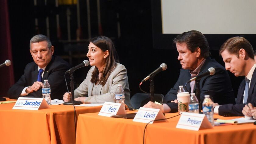 Democratic candidates for the 49th congressional district, Doug Applegate, Sara Jacobs, Stever Kerr,