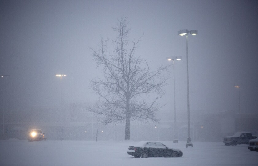Tanglewood Mall and a parking area in southwest Roanoke County, Va., as the storm descends.