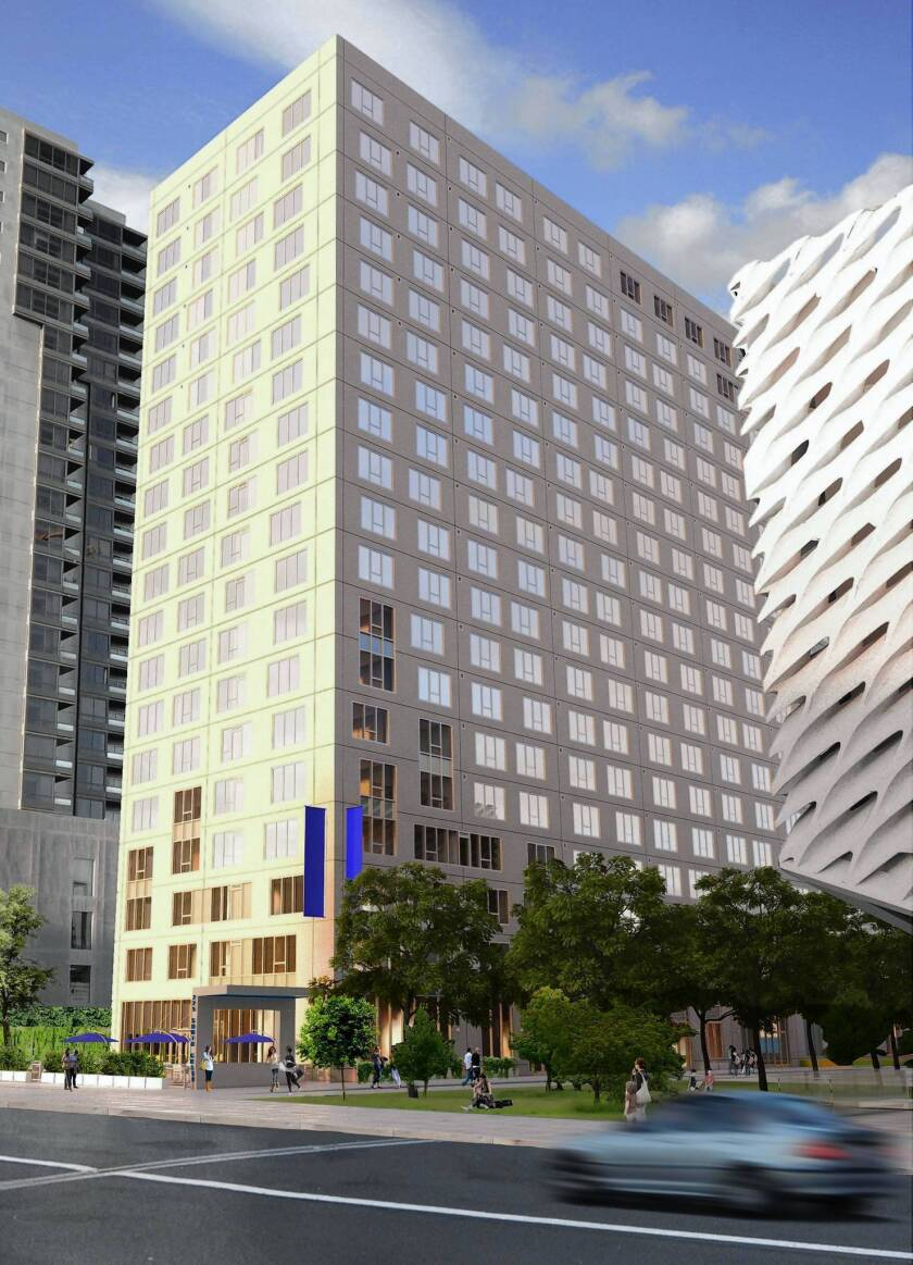 """A rendering of the apartment tower to be built next to the Broad art museum on Grand Avenue. A Related Cos. executive said the high-rise would be """"simple and elegant, not fancy and extravagant,"""" so as not to compete with the museum and Disney Concert Hall."""