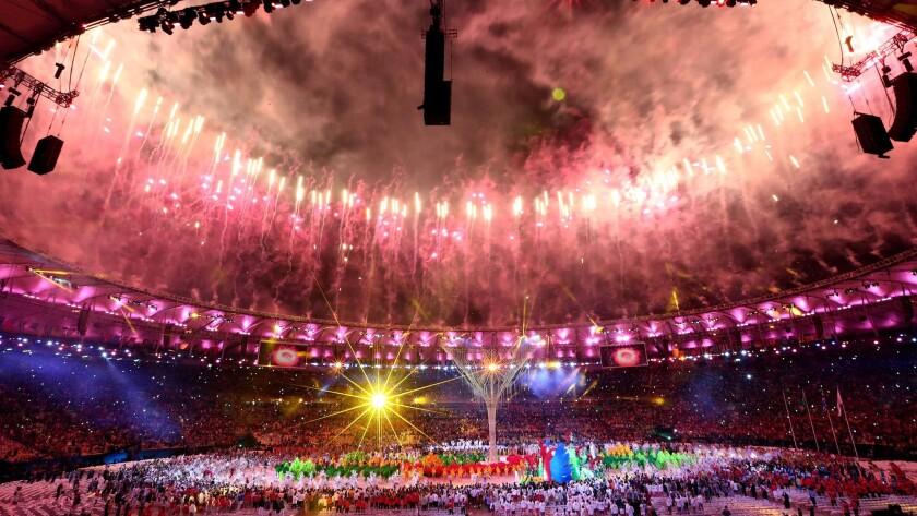 Fireworks explode during the Rio 2016 closing ceremony.