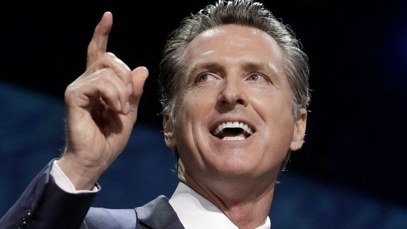 Gov. Gavin Newsom speaks during the 2019 California Democratic Party State Organizing Convention on Saturday in San Francisco.