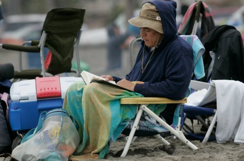 While much of the nation swelters, in San Diego people have to bundle up at the beach.