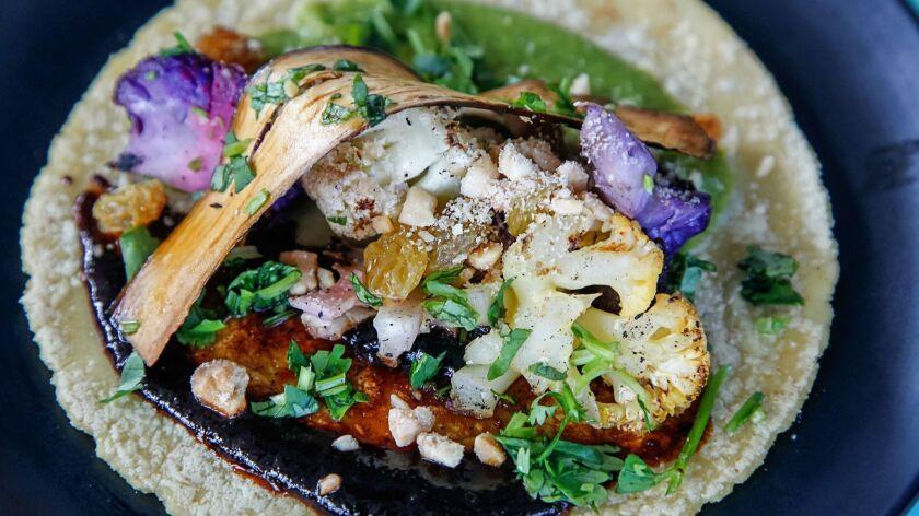 SAN DIEGO, CA Aug. 28th, 2018 | Rainbow Cauliflower Taco at Lola 55 restaurant on Tuesday in the Eas