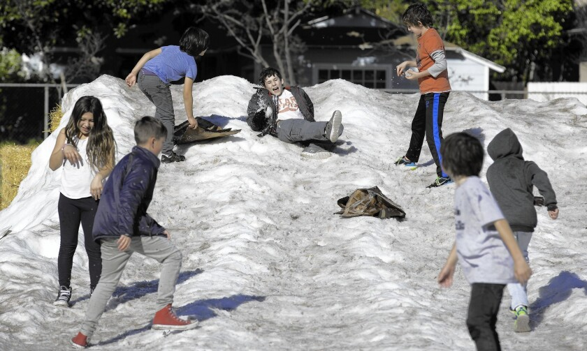 Children play on a snow hill at Studio City Recreation Center, which offered free childcare Tuesday.