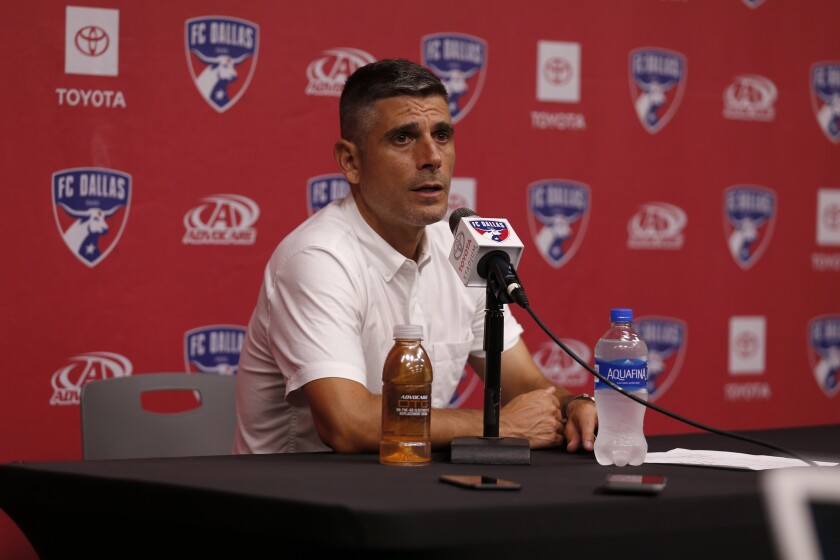 FC Dallas coach Luchi Gonzalez speaks during a news conference.