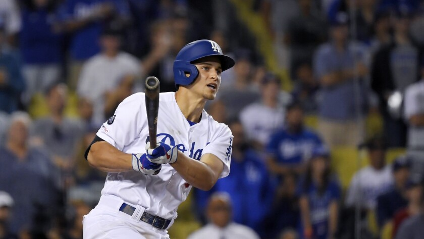 Corey Seager hits a double during the ninth inning against the Toronto Blue Jays on Thursday at Dodger Stadium.