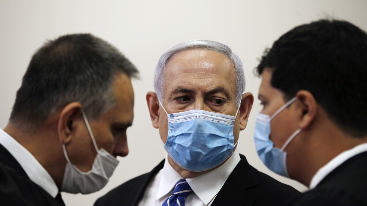 Image result for Israel PM Netanyahu pleads not guilty to corruption charges as trial resumes