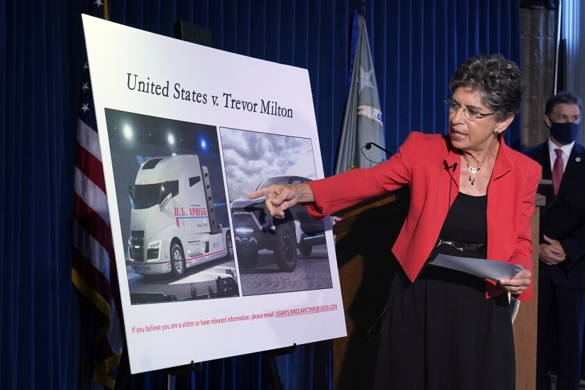 Audrey Strauss, the United States Attorney for the Southern District of New York, speaks during a news conference, in New York, Thursday, July 29, 2021. She announced that Trevor Milton, founder and one-time executive chair of Nikola Corp., surrendered Thursday in New York to face charges alleging he lied about the electric and hydrogen-powered truck startup, duping some financially struggling novice investors looking for income during the pandemic. (AP Photo/Richard Drew)