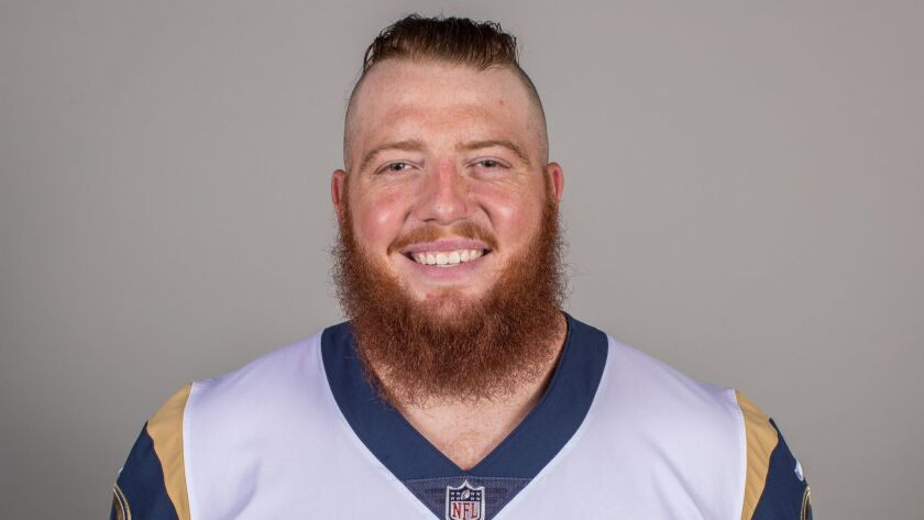 Headshot of Center/guard (72) Aaron Neary of the Los Angeles Rams, Thursday, June 11, 2018, in Thous