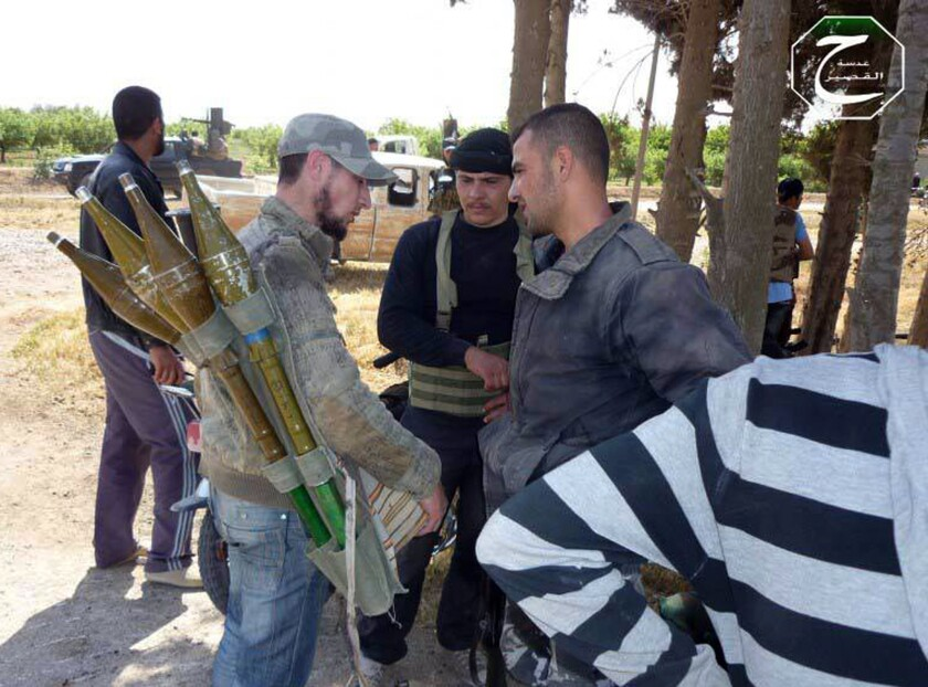 Citizen journalists provided this image said to show Syrian rebels preparing to respond to a government assault on the city of Qusair.
