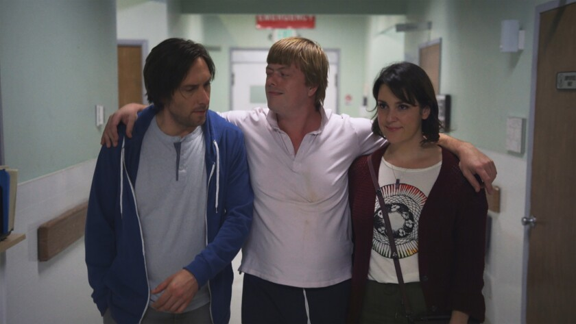 """Timm Sharp, left, Linas Phillips and Melanie Lynskey in the movie """"Rainbow Time."""""""