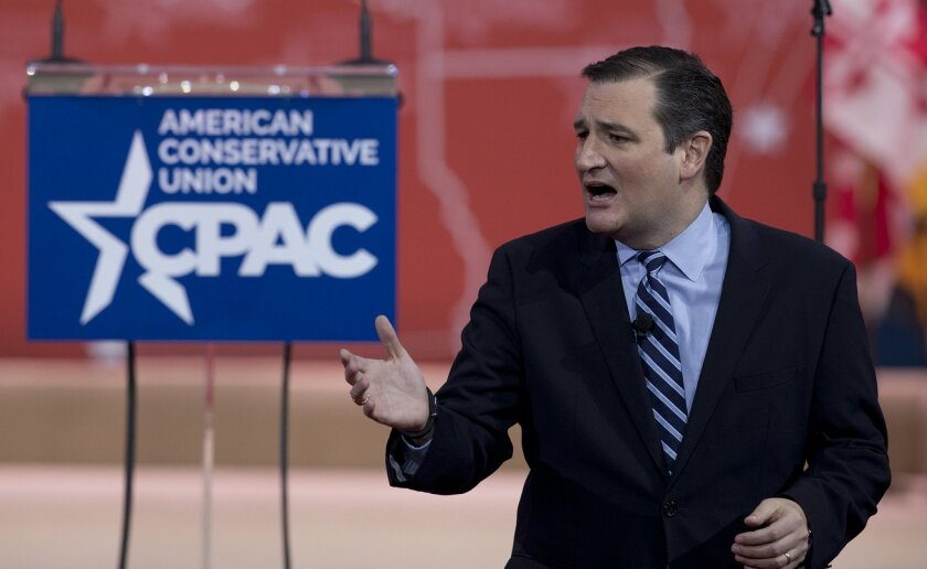 Sen. Ted Cruz, R-Texas speaks during the Conservative Political Action Conference (CPAC) in National Harbor, Md., Thursday, Feb. 26, 2015. (AP Photo/Carolyn Kaster)