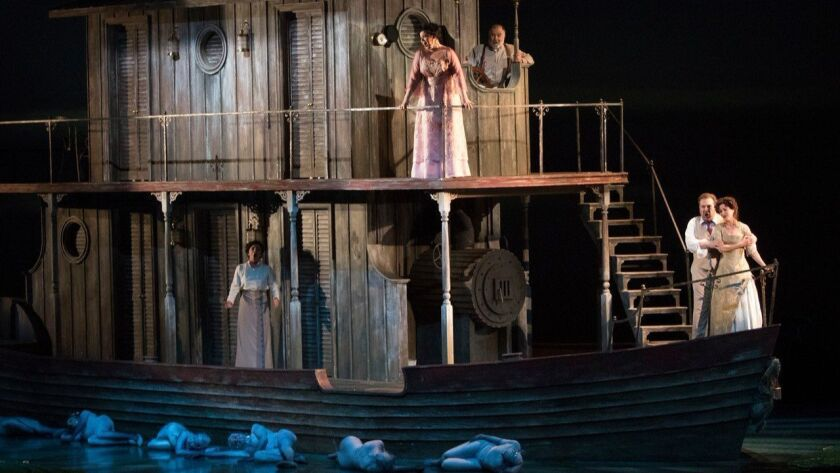 """The cast heads downriver in San Diego Opera's """"Florencia en el Amazonas"""" at the San Diego Civic Theatre."""