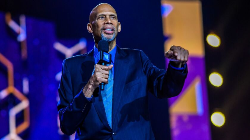 Kareem Abdul-Jabbar speaks in Toronto on Sept. 20.