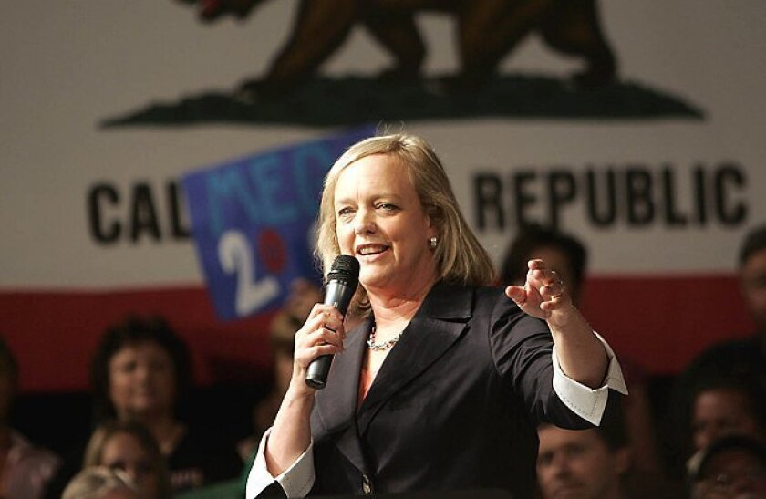 Meg Whitman, appearing in Escondido on Saturday, has a wide lead over Steve Poizner in the polls in the contest for the Republican gubernatorial nomination.