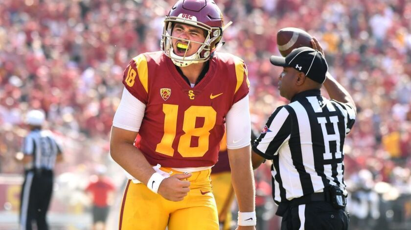 LOS ANGELES, CALIFORNIA SEPTEMBER 1, 2018-USC quarterback J.T. Daniels celebrates his first touchdon