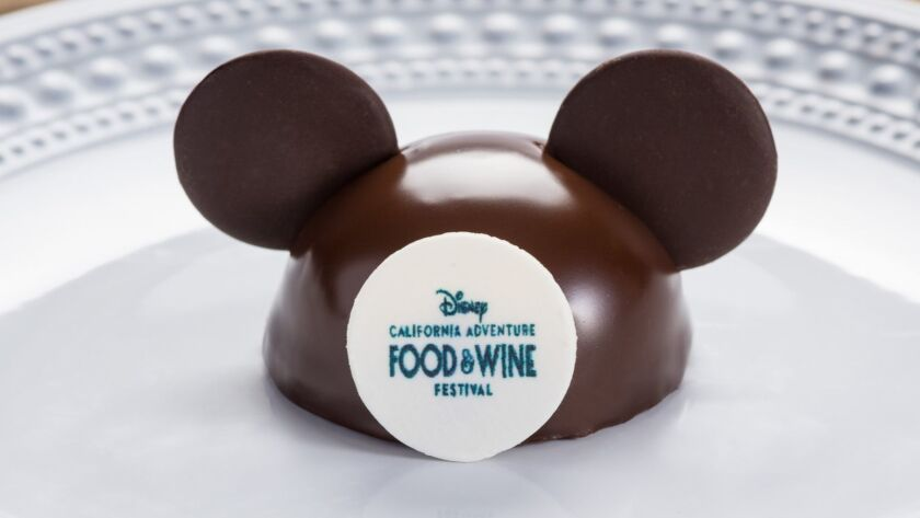 The Mickey Mouse-themed chocolate crunch cake is among the new items featured this year at the 2019 Disney California Adventure Food & Wine Festival, which runs March 1 through April 23 at the Anaheim theme park.