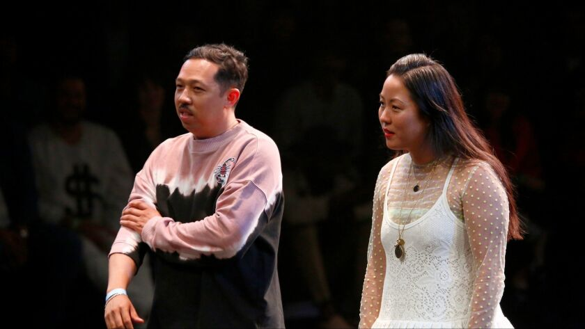 Humberto Leon and Carol Lim had a cameo at the end of their June 9 runway show here, the first time