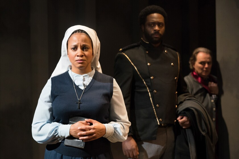 """Carolyn Ratteray stars as Isabel, the woman faced with an indecent proposal, in Antaeus' production of Shakespeare's """"Measure for Measure."""""""