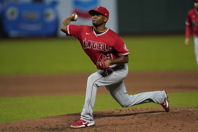 The Angels' Julio Teheran pitches against the San Francisco Giants on Aug. 20, 2020.