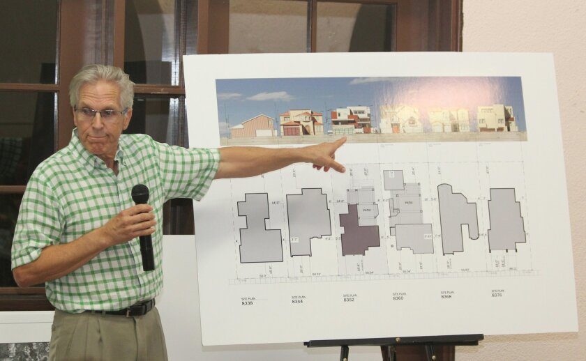 Architect Richard Gombes addresses criticism about the bulk and scale of his residential project in La Jolla Shores.