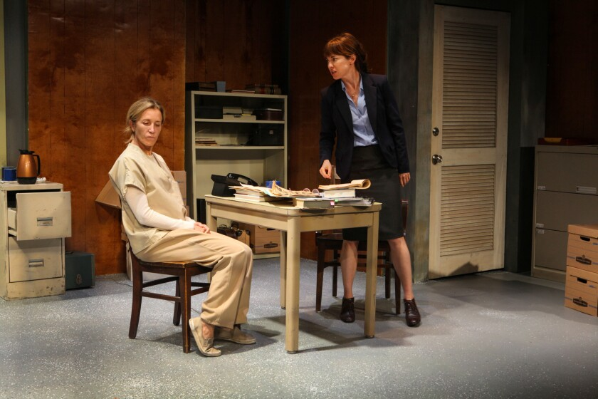 "Felicity Huffman, left, and Rebecca Pidgeon in ""The Anarchist"" at Theatre Asylum."
