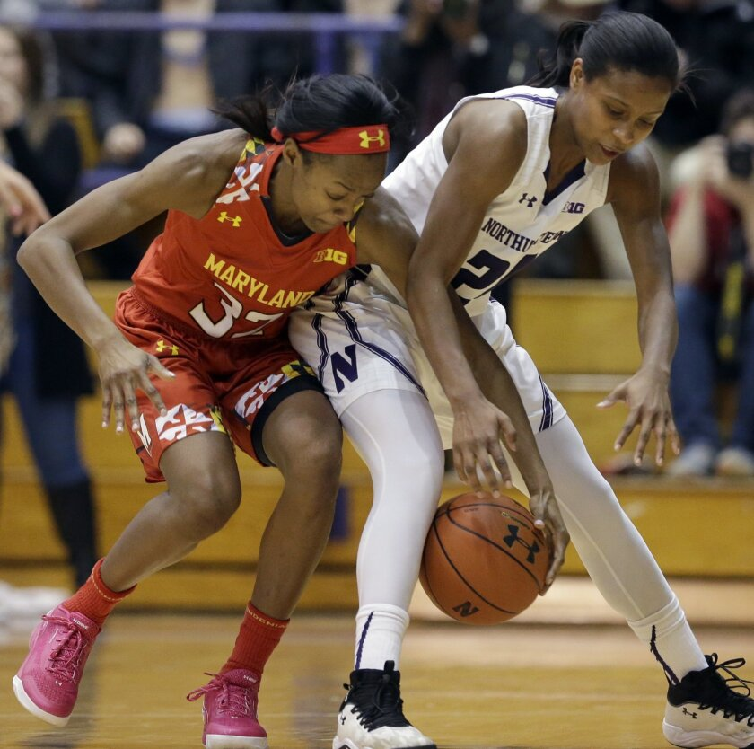 Maryland guard Shatori Walker-Kimbrough, left, and Northwestern guard Christen Inman battle for a loose ball during the first half of an NCAA college basketball game Sunday, Feb. 14, 2016, in Evanston, Ill. (AP Photo/Nam Y. Huh)