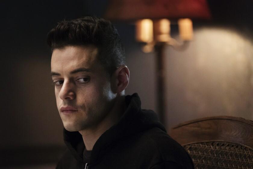 "Rami Malek as Elliot Alderson in the Season 2 premiere of USA's breakout hit ""Mr. Robot."""