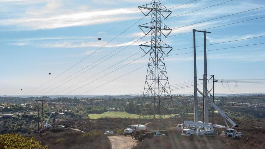 San Diego Gas & Electric power lines getting upgraded in Julian.