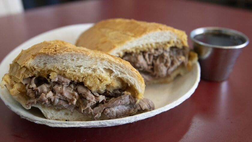 LOS ANGELES, CALIFORNIA - OCTOBER 14, 2018: The French dip sandwich at Philippe's The Original in Lo