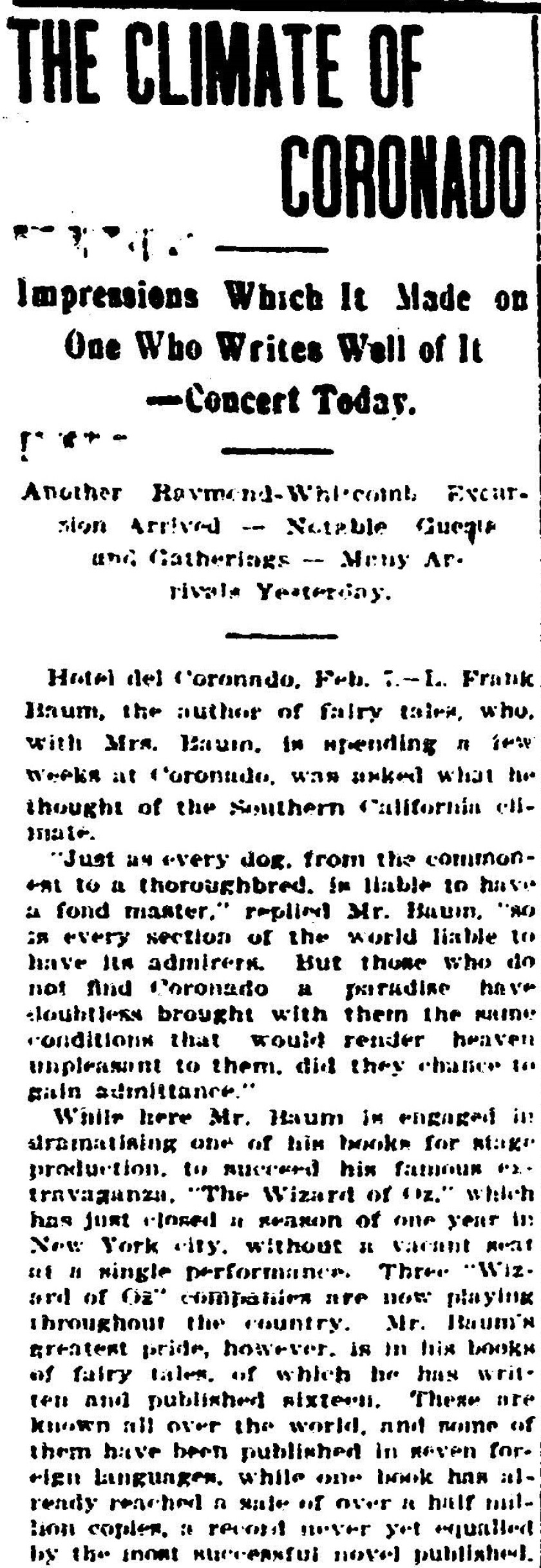 From the Archives: L. Frank Baum at Coronado - The San Diego Union-Tribune