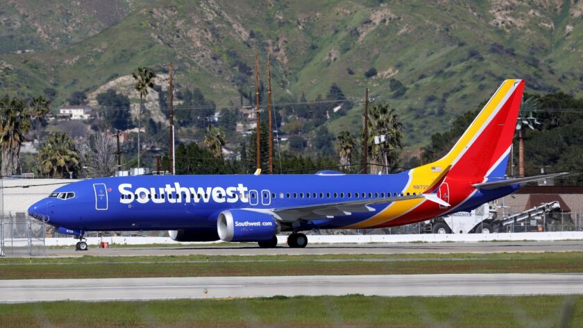 A Boeing 737 Max 8 flown by Southwest Airlines sits grounded at Hollywood Burbank Airport on Wednesday afternoon.