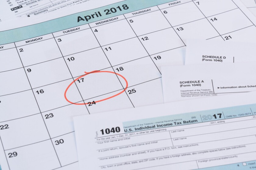Calendar with reminder for taxes due on April 17th